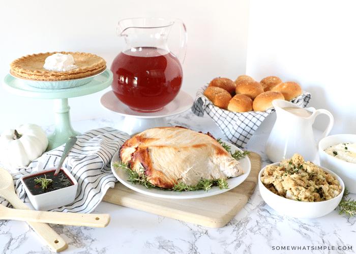 thanksgiving food on display