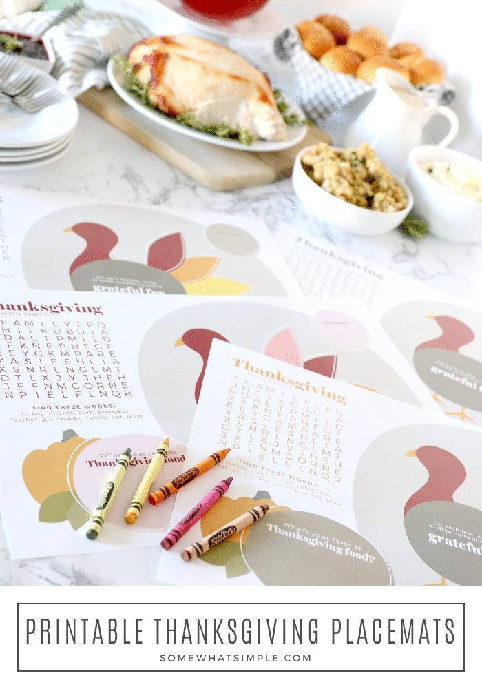 Celebrate Thanksgiving this year with a simple spread of delicious foods, and darling printable Thanksgiving placemats for the kids! via @somewhatsimple