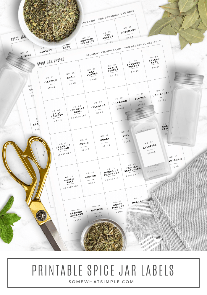 Get ready for a spice rack overhaul using our printable spice jar labels! It's time to create an organized spice rack that looks amazing! Download these free printable spice jar templates and in a few minutes your pantry is going to look pretty and you'll be able to find what you're looking for. via @somewhatsimple