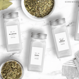 glass spice jars with white labels
