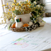 DIY Tablecloth made from a drop cloth