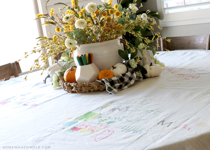DIY Thanksgiving tablecloth made from a drop cloth