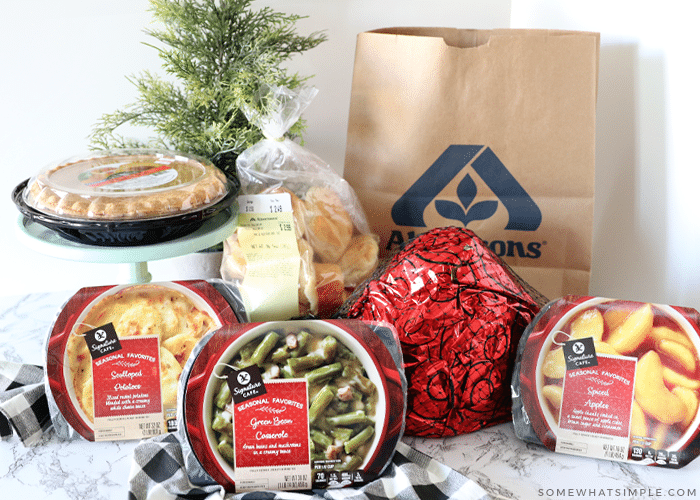 christmas dinner from albertsons - food on the counter with shopping bag