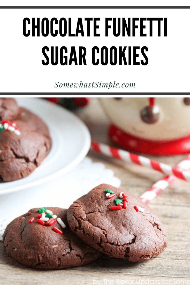 These holiday funfetti chocolate sugar cookies are half cookie, half brownie and they are super simple to make! These cookies turn out soft and fluffy and are the perfect Christmas treat. via @somewhatsimple