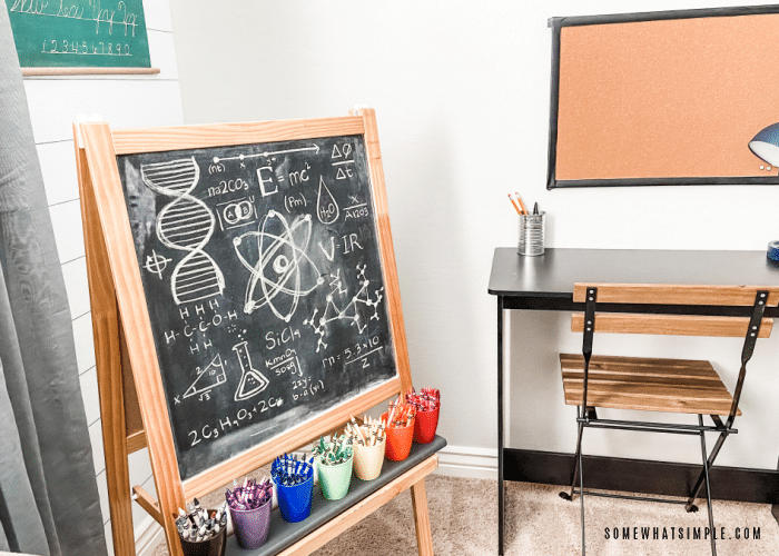easel with science doodles written on a chalkboard