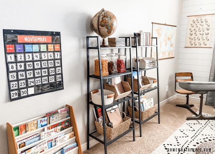 bookshelves in a school room