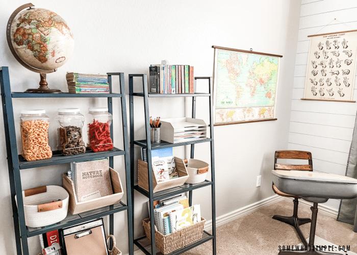 bookshelf in homeschool room