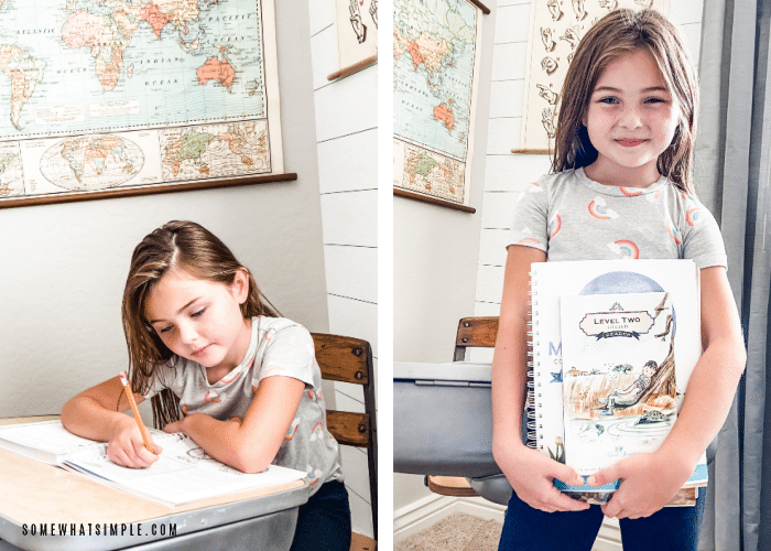 Addie holding textbooks and writing in a workbook