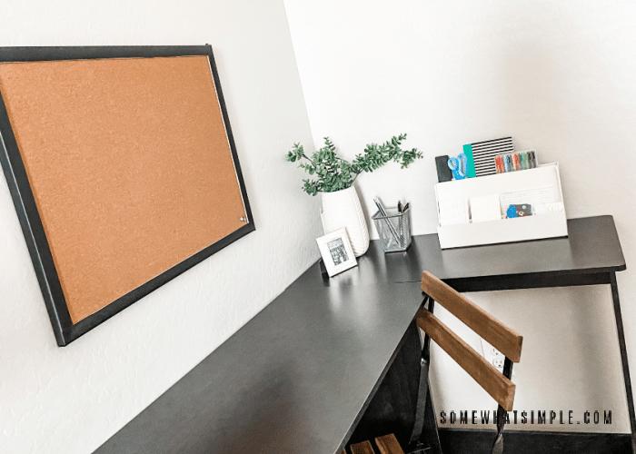 teachers desk in the corner of a homeschool room