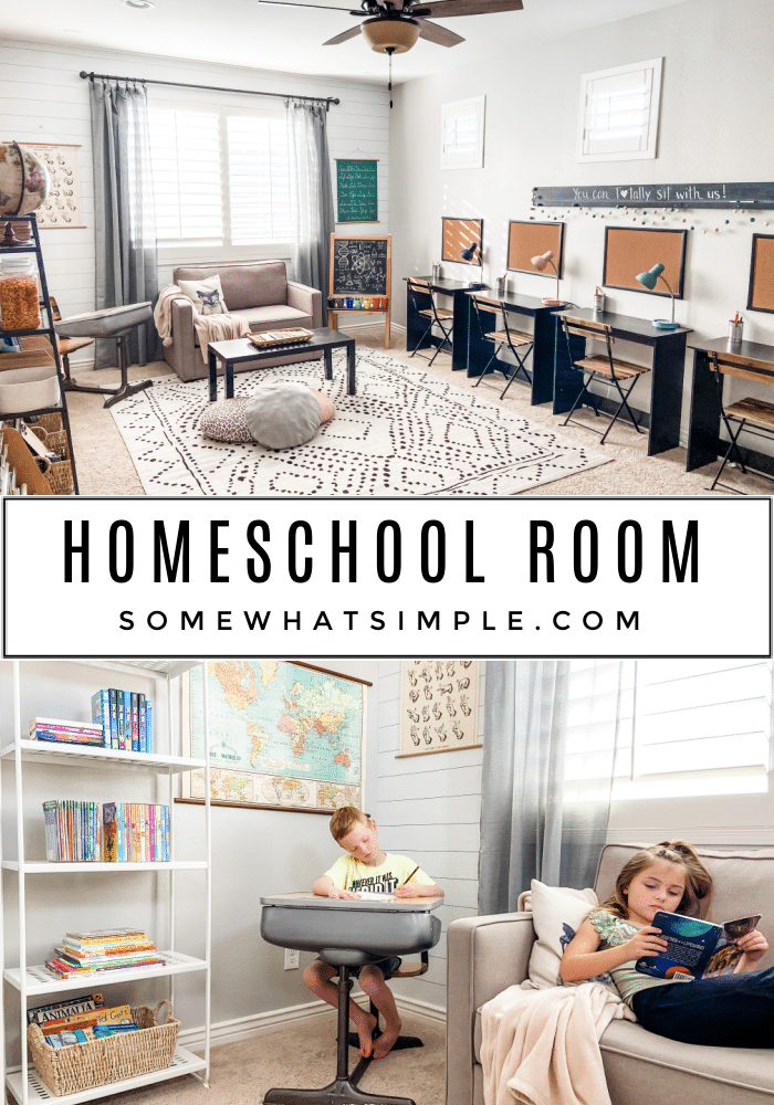 A tour of our family's homeschool room, and a chat about the curriculum we are using to homeschool our kids. via @somewhatsimple