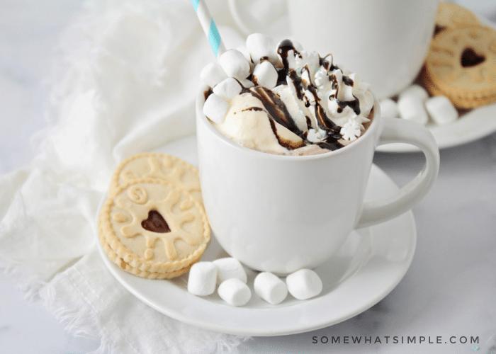 a mug filled with hot chocolate & ice cream