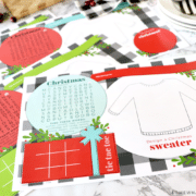 printable Christmas placemats on the table