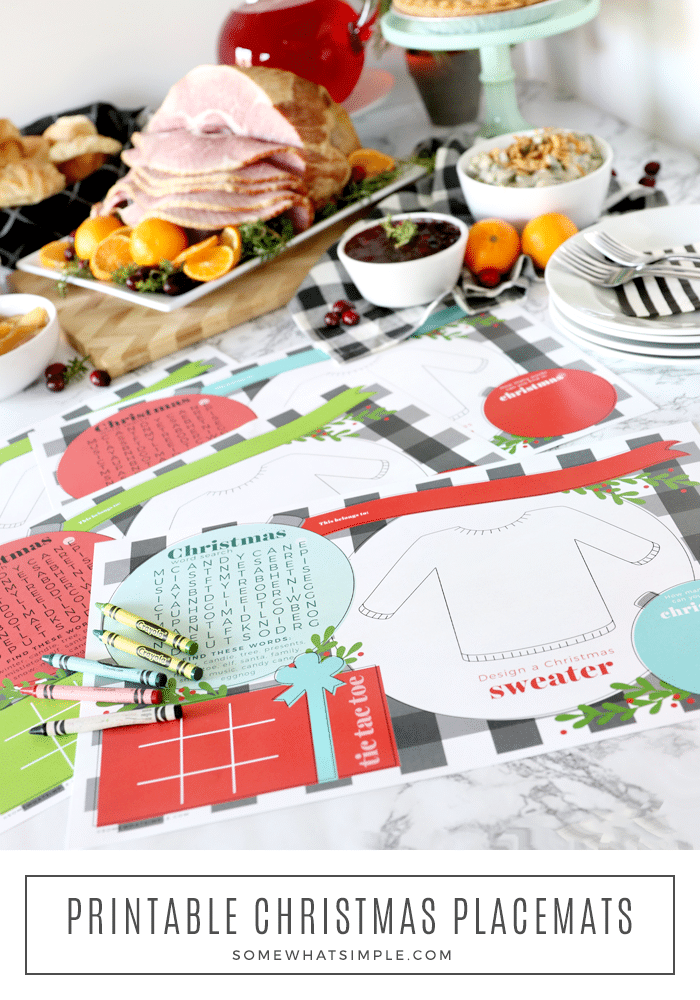 Celebrate Christmas with darling printable Christmas placemats for the kids, and a simple spread of delicious foods the whole family will LOVE! #christmas #printable #free #placemat via @somewhatsimple