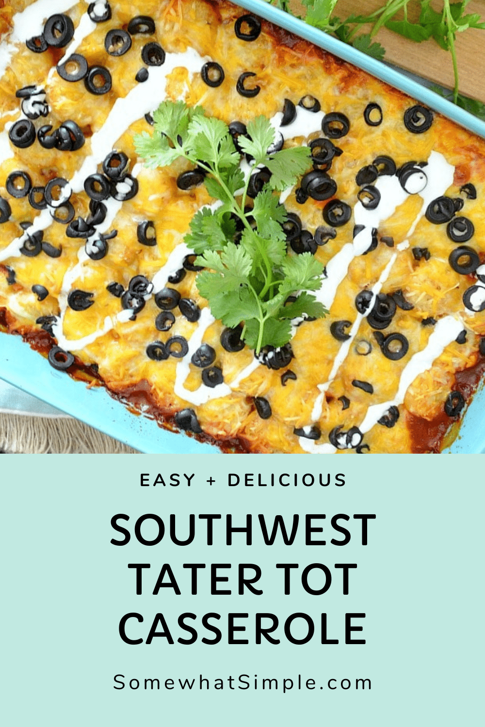 Southwest tater tot casserole is a delicious twist on a classic recipe. Loaded with the Mexican flavors of the Southwest, this casserole is an easy dinner everyone will love. via @somewhatsimple