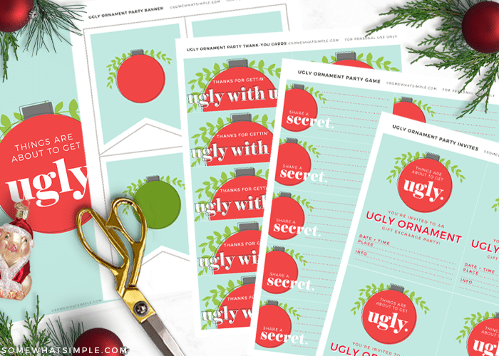 printable invitations for an ornament exchange party on a white counter with gold scissors