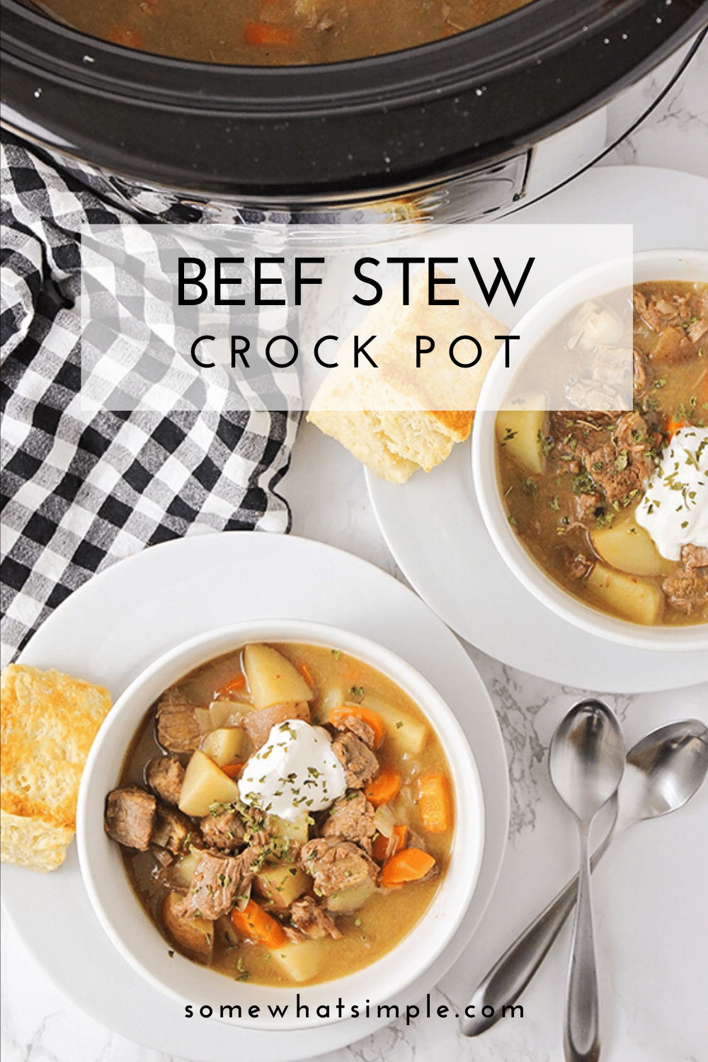 This crock pot beef stew is a savory recipe that is the perfect comfort-food meal.  Made in a slow cooker all day until the beef is incredibly tender and hearty vegetables are bursting with flavor! This dinner recipe is so easy to make, you can enjoy it all year long! via @somewhatsimple