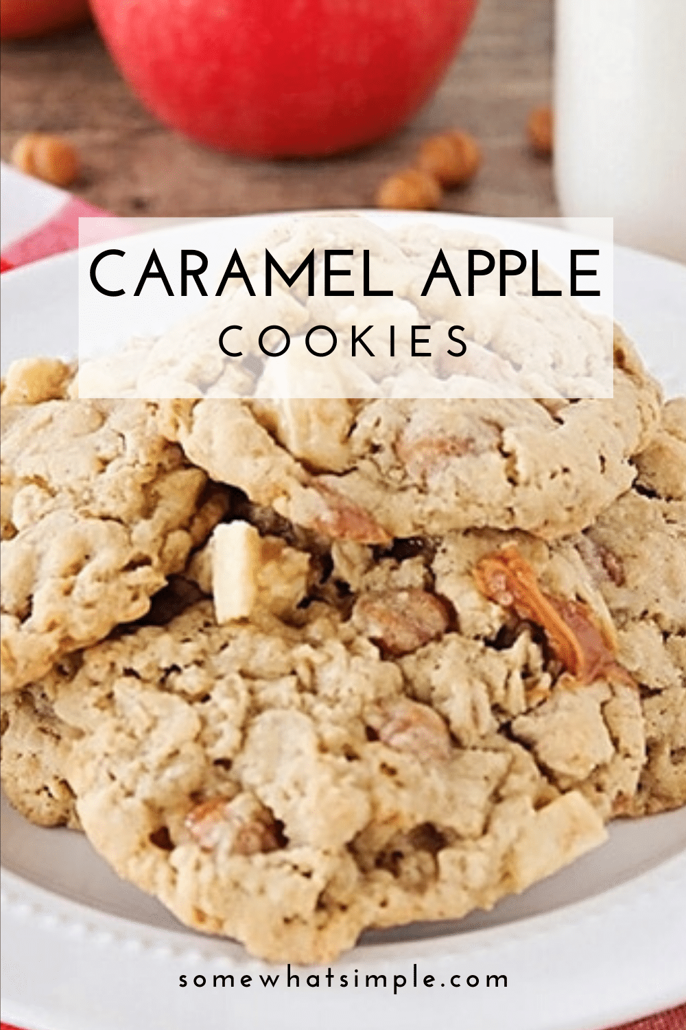 These caramel apple oatmeal cookies are so delicious, and packed with chunks of fresh apple and gooey caramel! These cookies are the perfect recipe for when you want a delicious cookie but also want to try something different. via @somewhatsimple