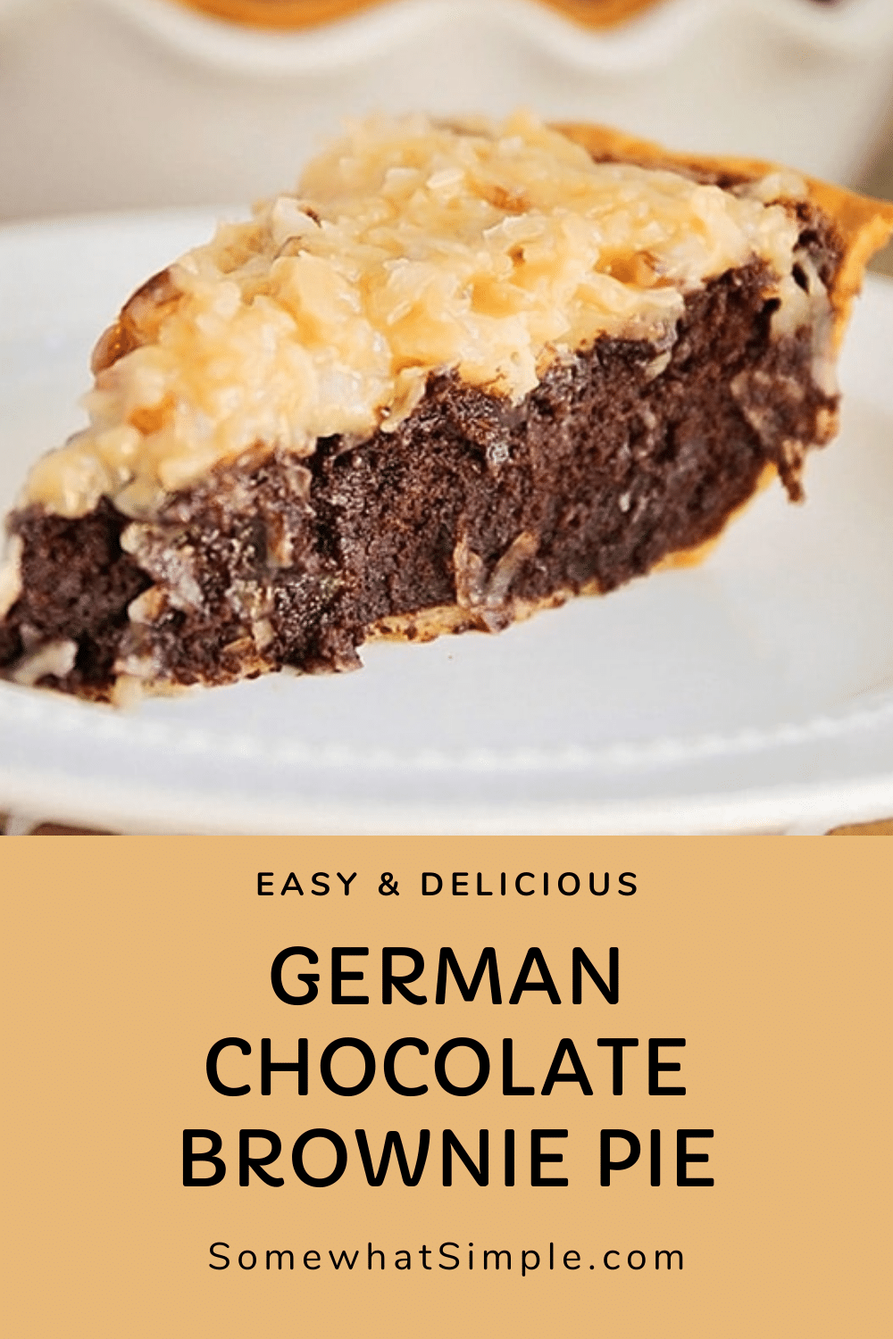 This German chocolate brownie pie is a decadent dessert you're sure to love. With all of the flavors of your favorite cake, but in brownie form, it's will soon be your favorite dessert! via @somewhatsimple