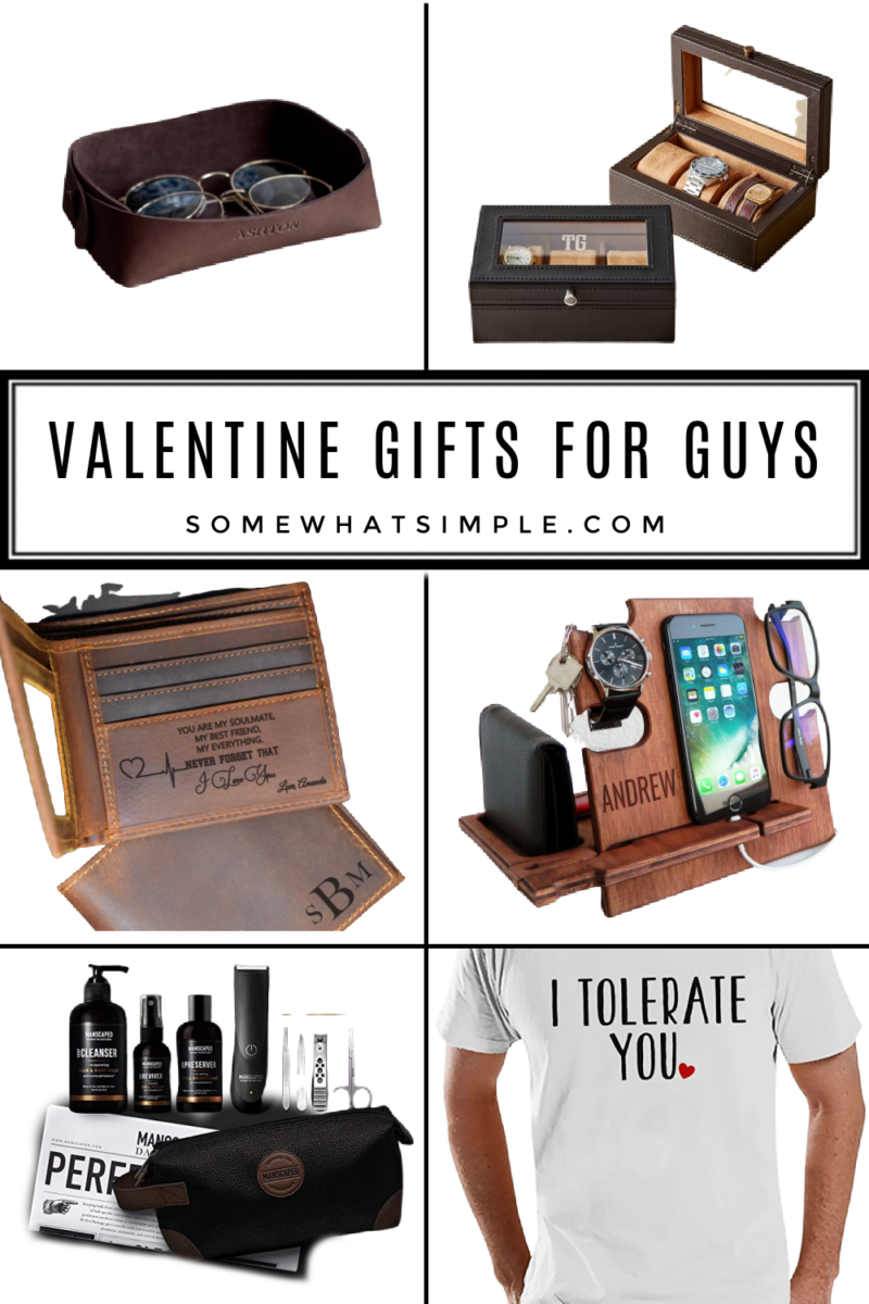 A collage of valentine gift ideas for guys
