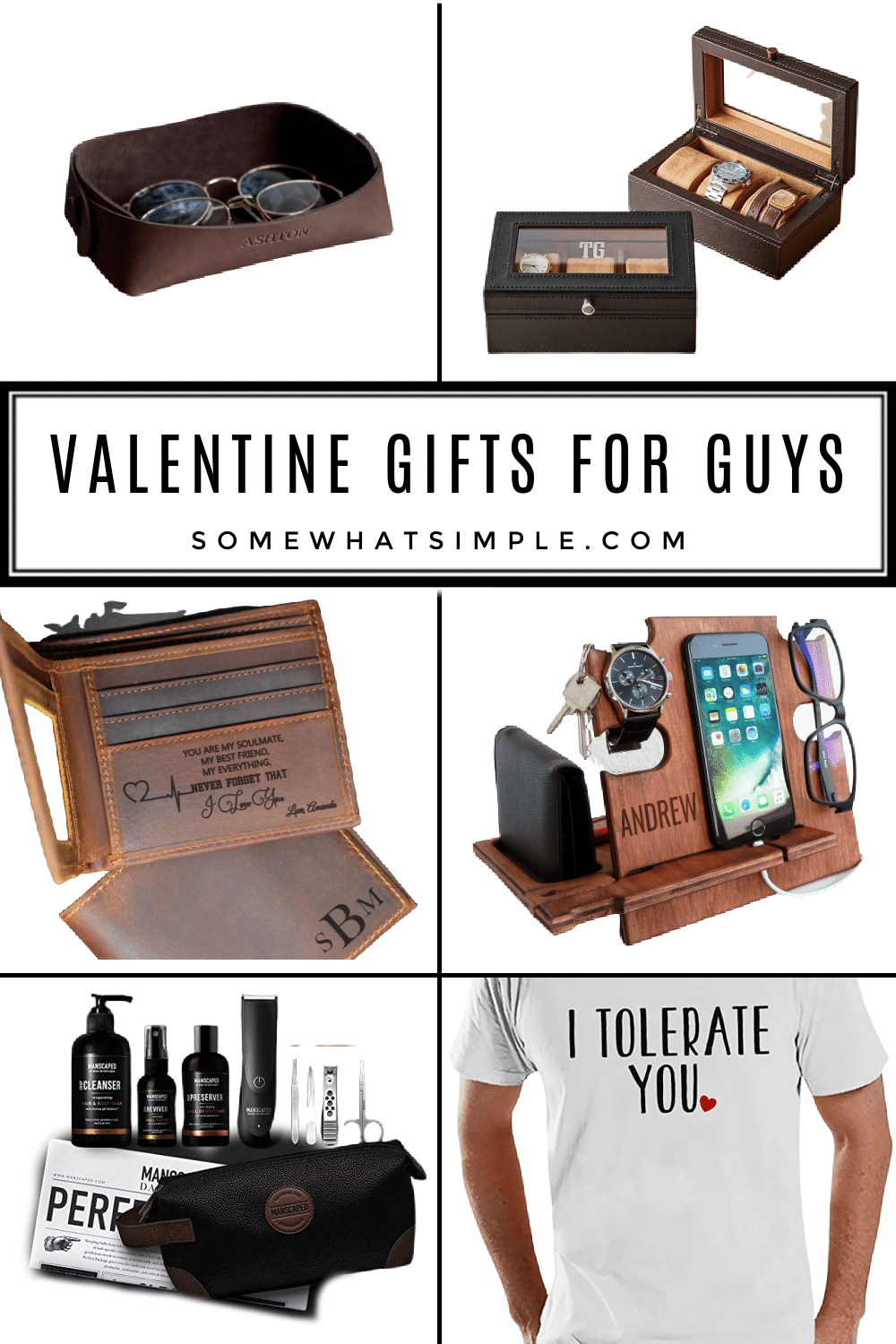 Whether you're looking for gifts that are easy, funny or thoughtful, here's a list of our favorite Valentine Gifts for him that he is sure to LOVE! via @somewhatsimple
