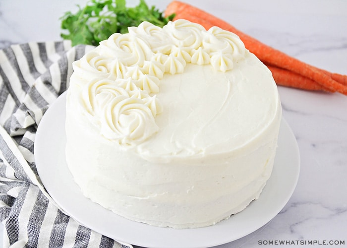 a decorated white cake
