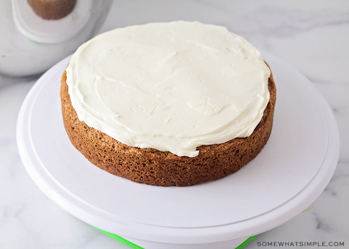 carrot cake with icing on top