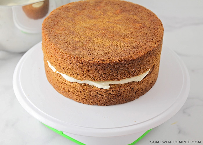 two layers of cake with icing in the middle