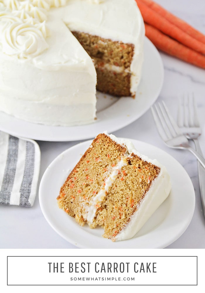 This carrot cake is moist, delicious and so easy to make! Topped with an amazing cream cheese icing, it's an incredible spring dessert! Made with fresh carrots, this cake recipe turns out soft and moist every time. It's the perfect spring dessert recipe that you can enjoy during Easter or anytime you want to enjoy those incredible flavors! via @somewhatsimple