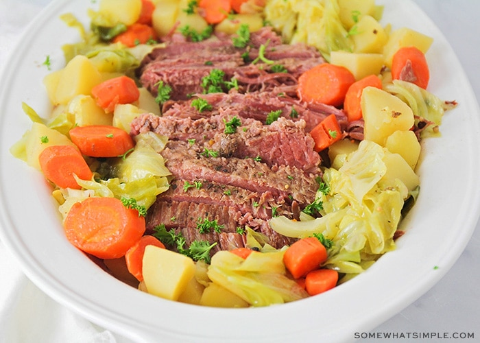 a bowl of classic corned beef and cabbage