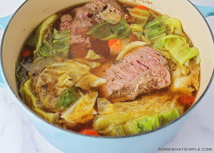 a pot of corned beef and cabbage