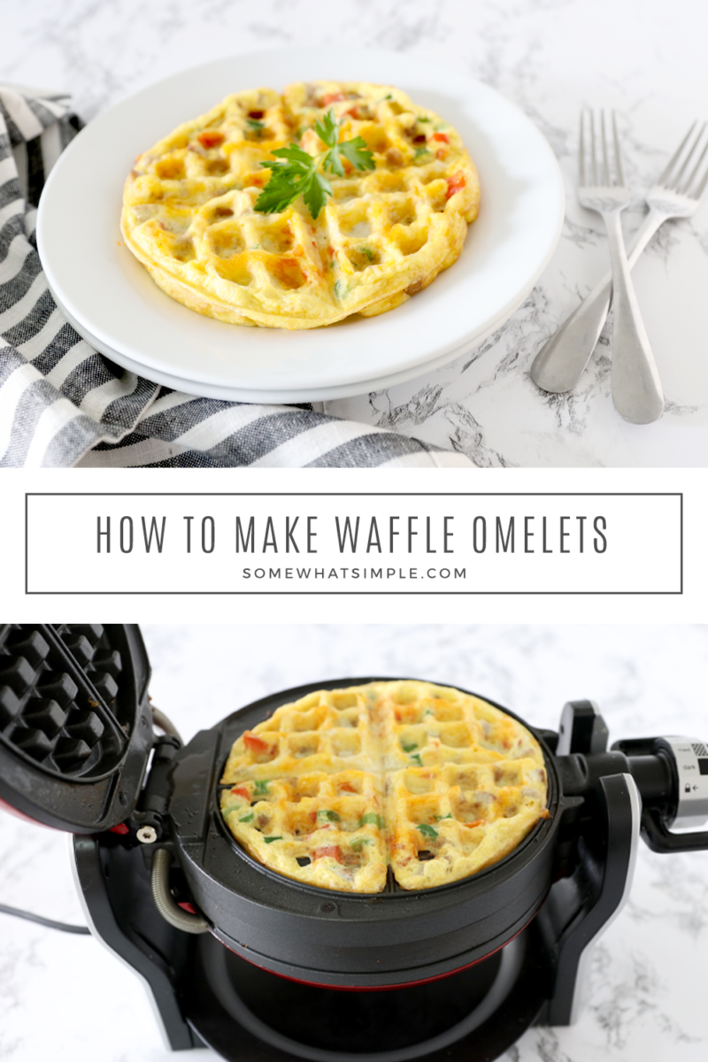 collage of the pictures showing how to make a waffle omelet