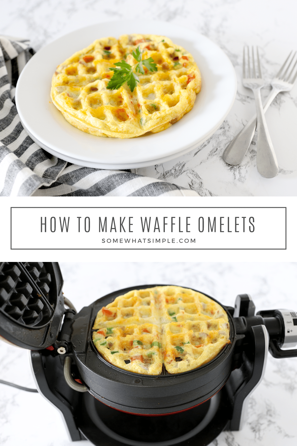Waffle Omelets are simple to make and they taste fantastic! Kick your breakfast game up a notch with a fun new and easy way to eat your eggs! via @somewhatsimple