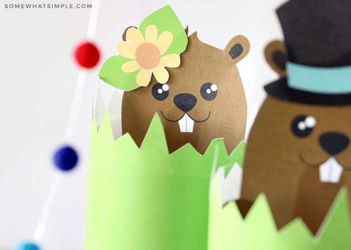 paper ground hog puppet