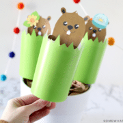 hand holding a groundhogs day puppet craft