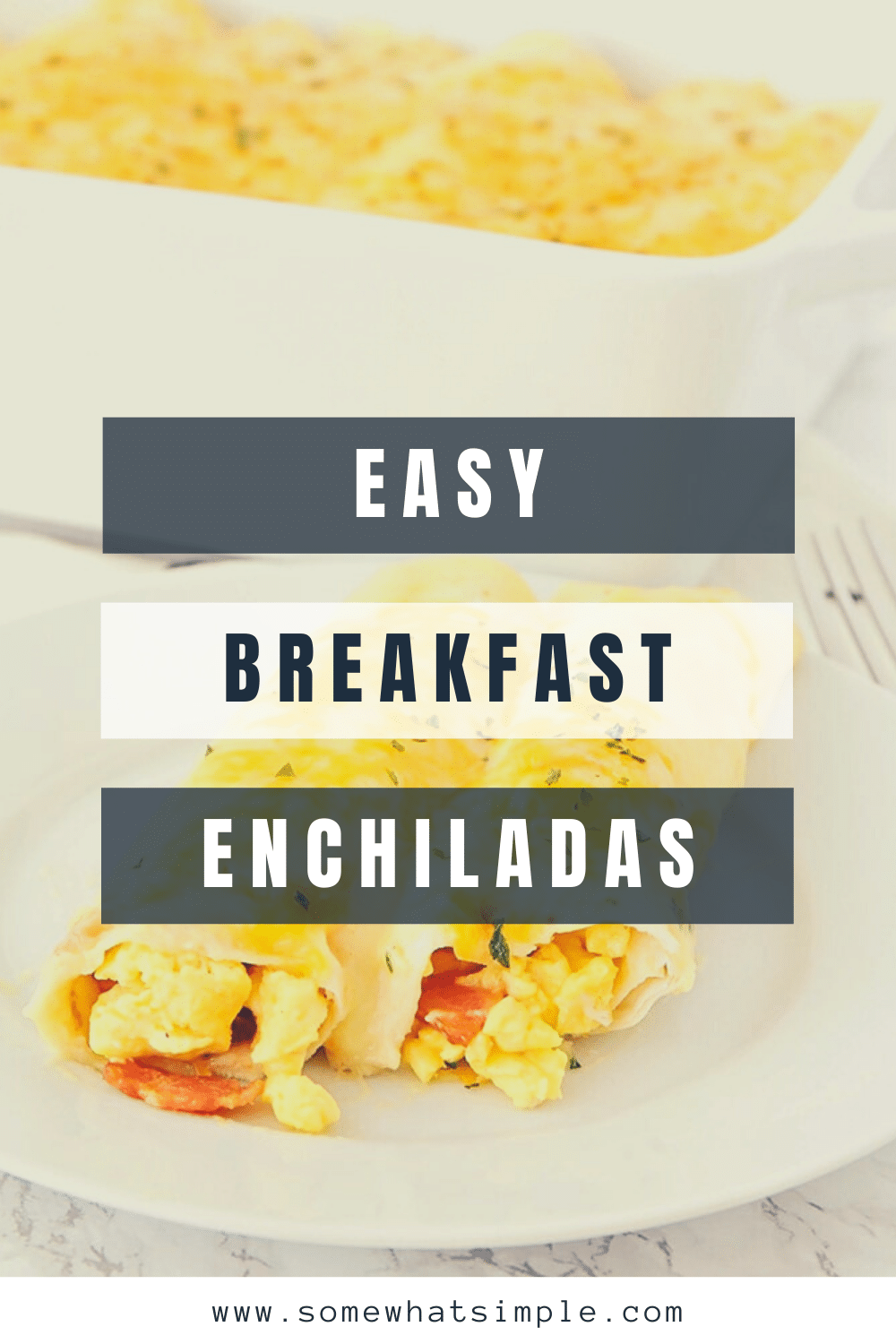 These amazing breakfast enchiladas are a fun twist on a traditional breakfast recipe! They're loaded with eggs, bacon, and cheese, and they are so delicious! The best part is that these breakfast enchiladas are that they can be frozen so you can make them ahead of time. via @somewhatsimple