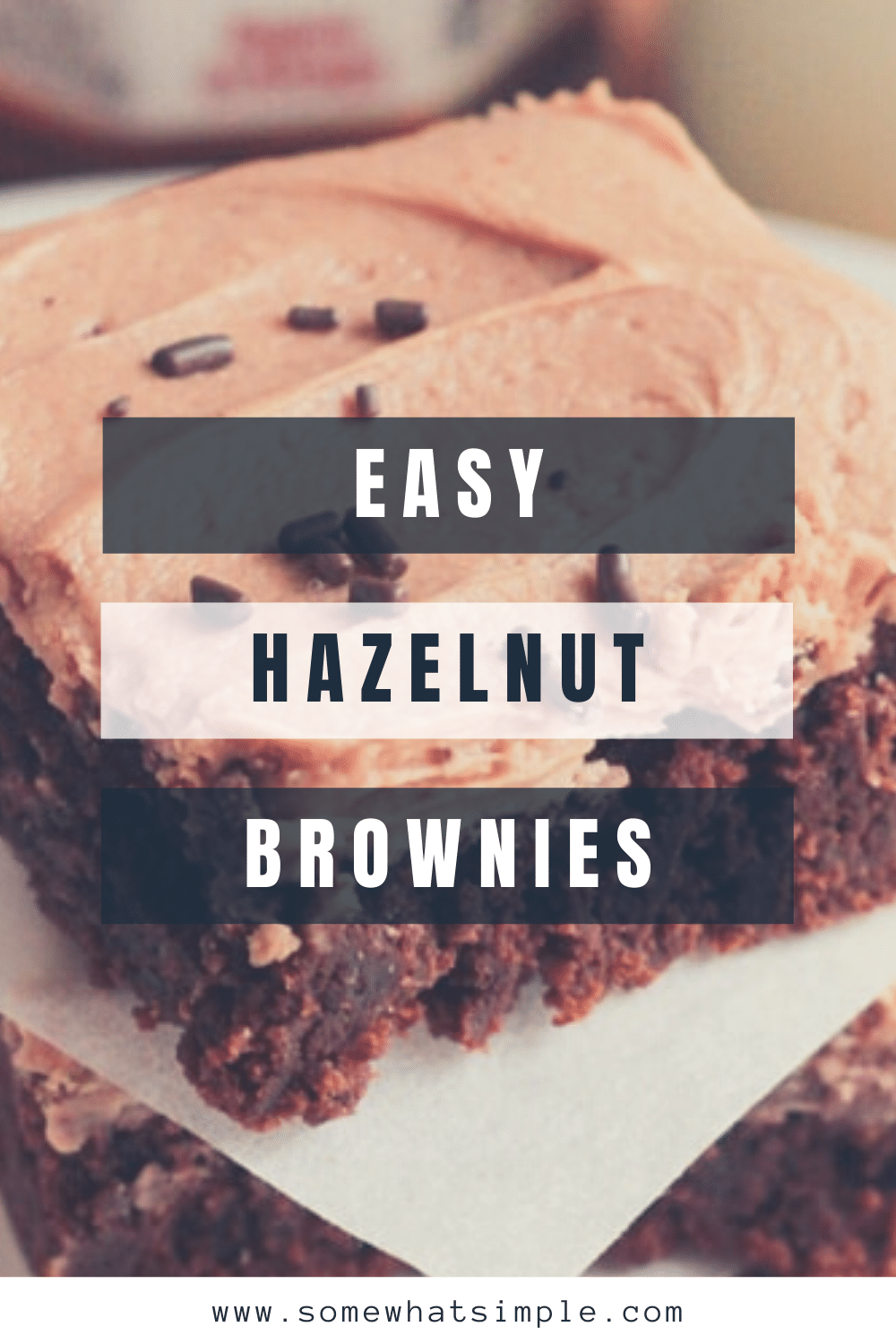 Chocolate hazelnut brownies, with an irresistible homemade frosting, are a delicious dessert that will satisfy any chocolate lover. The brownies are fudgy and delicious while the homemade hazelnut frosting is unlike anything you've ever tried. Go ahead and give these a shot and you can thank me later. via @somewhatsimple