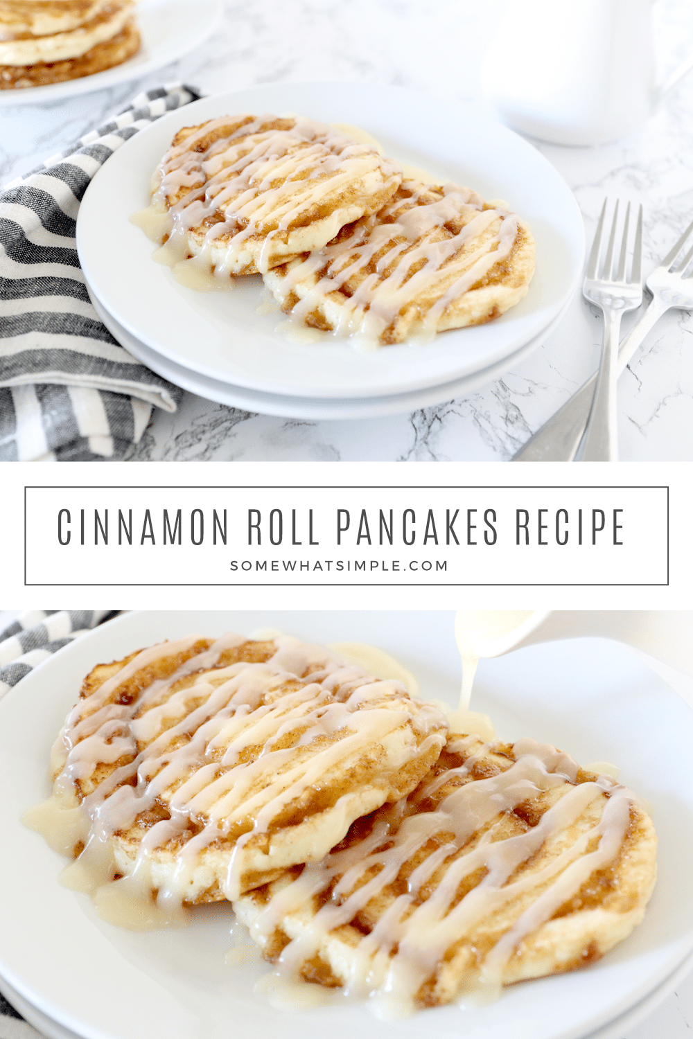 This cinnamon roll pancakes recipe with a cream cheese frosting is the perfect marriage of my two favorite breakfast foods. #food #breakfast via @somewhatsimple