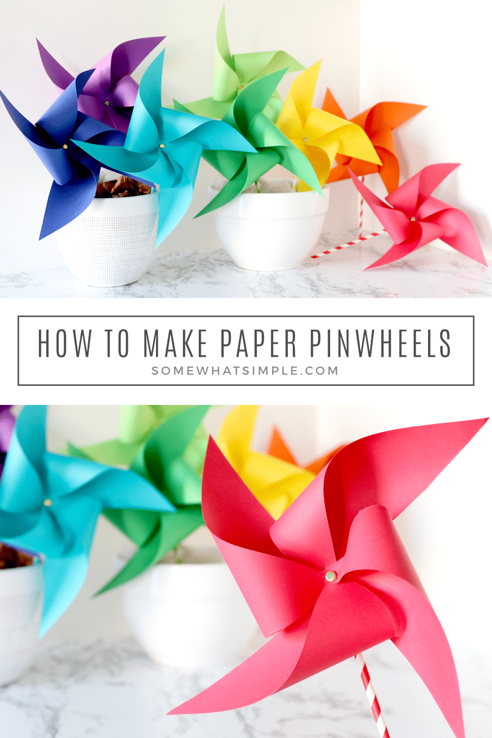 Ready for a fun craft that can be made in minutes? Here's how to make paper pinwheels for your next craft day, party or special celebration! via @somewhatsimple