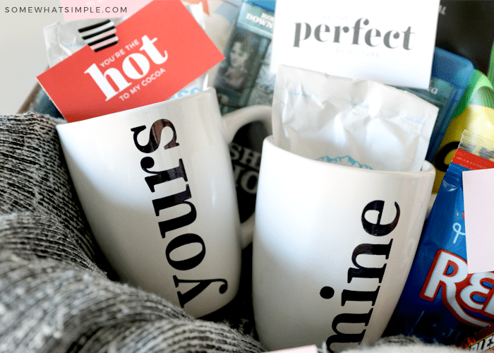 """hot cocoa mugs that say """"yours"""" and """"mine"""" on them"""