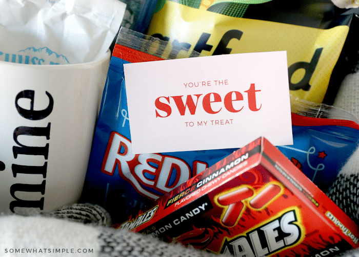 movie candy in a date night basket