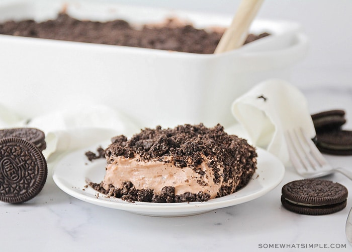 This Oreo dirt cake could not be easier to make, and it tastes fantastic! It's so chocolatey and delicious, and always a crowd pleaser!