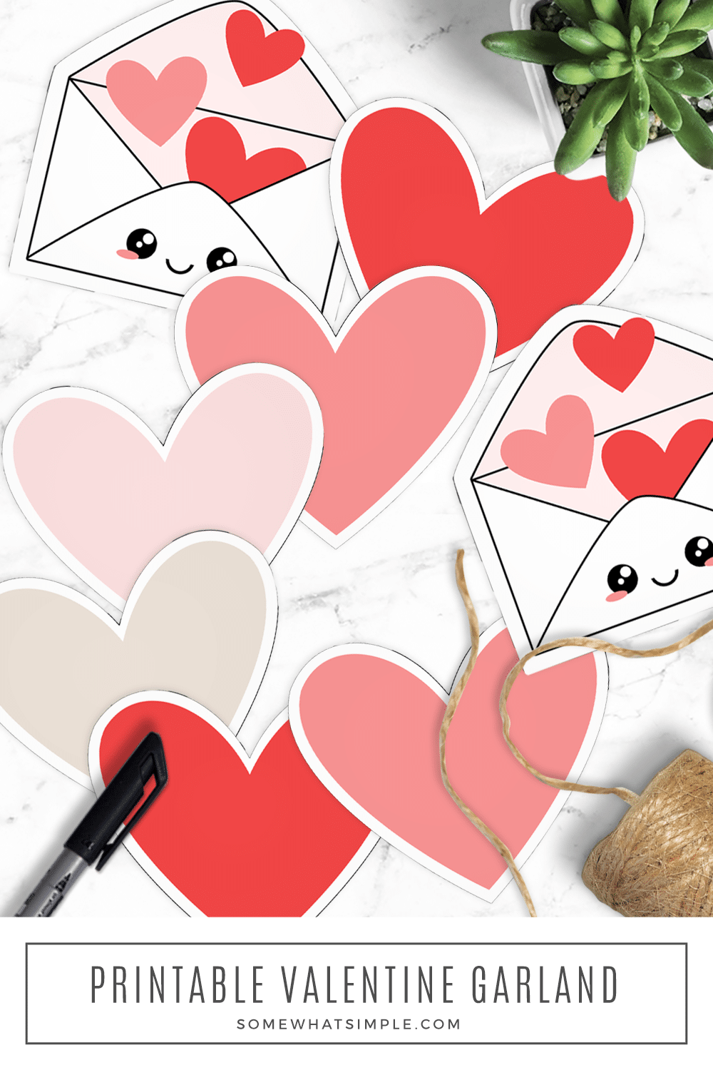 A fun family valentine garland that is simple, cute, and meaningful! Download our free printables and make one for your home today! via @somewhatsimple