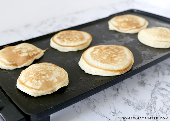 homemade pancakes on a griddle