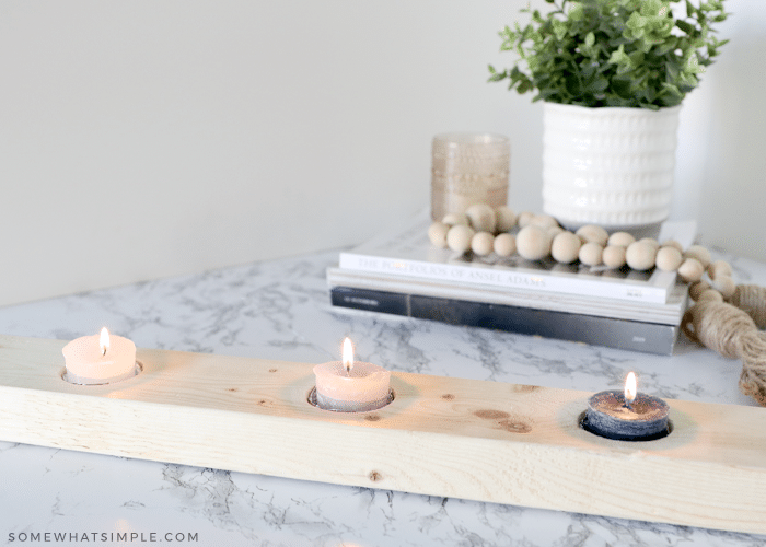 diy candle holder made with a 2x4