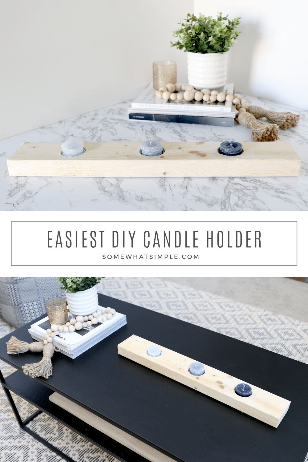 This DIY Candle Holder is a quick little wood project that will help you dress up any table-scape! via @somewhatsimple