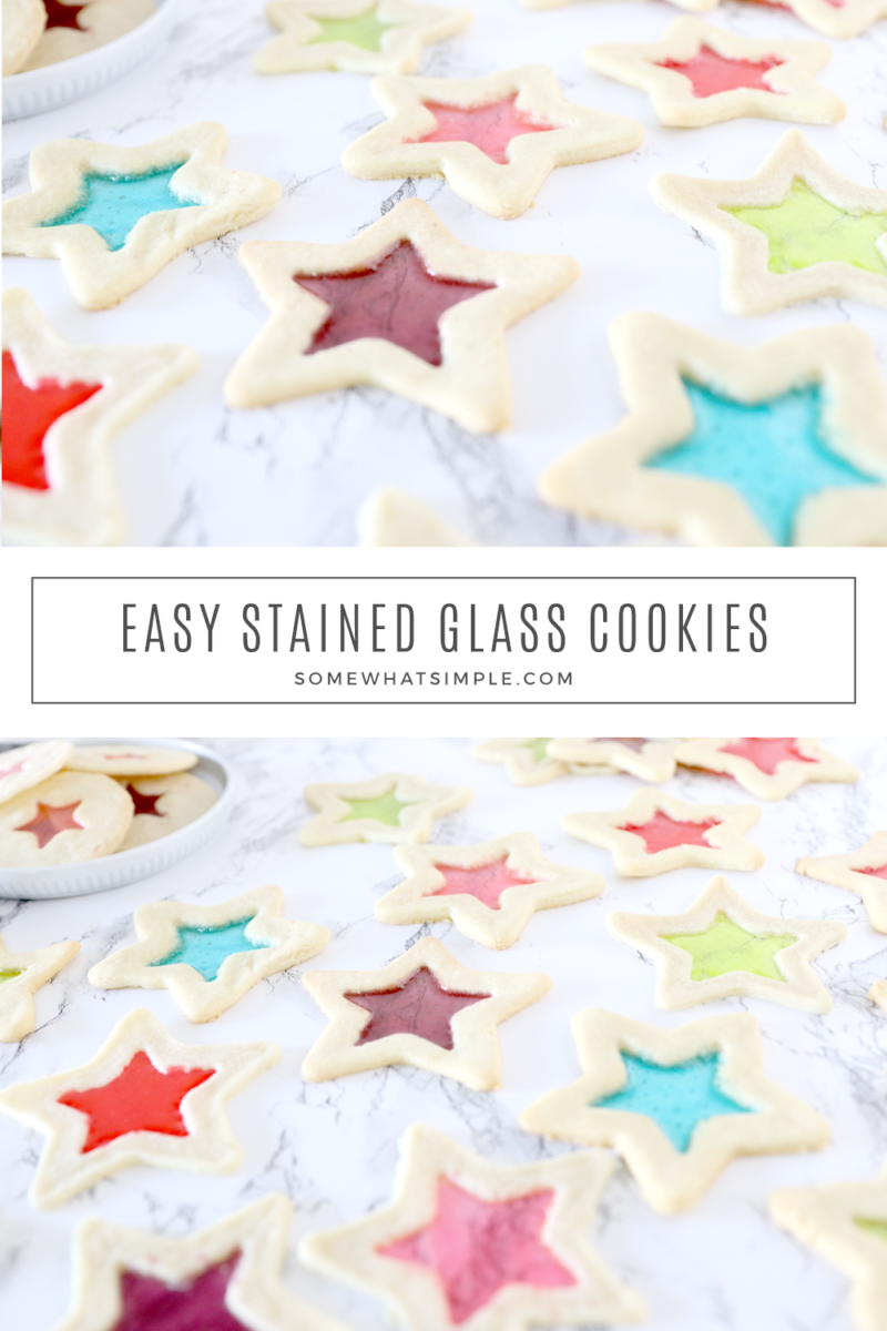 collage of stained glass cookies on a white counter