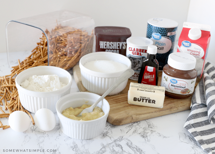ingredients to make brownies on a counter