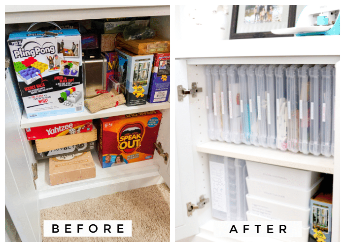 before and after game storage organization