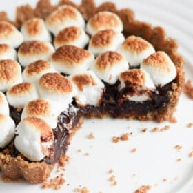 smores tart on a white plate