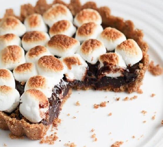 smores tart on a white plate